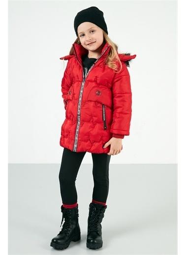Lela Lela Suni Kürklü Çıkarılabilir Kapüşon Uzun Şişme Kız Çocuk   Kırmızı
